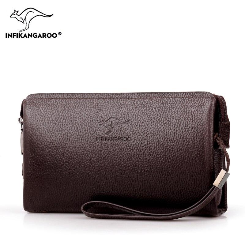 цена на 2018 Men Cow Genuine Leather Hand Bag New Fashion High Quality Bag For Male Casual Business Clutch Large Capacity Men's Handbags