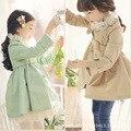 Nueva primavera y otoño las niñas capa de la chaqueta de manga larga de la ropa del niño otoño doble o-cuello cruzado prendas de vestir exteriores