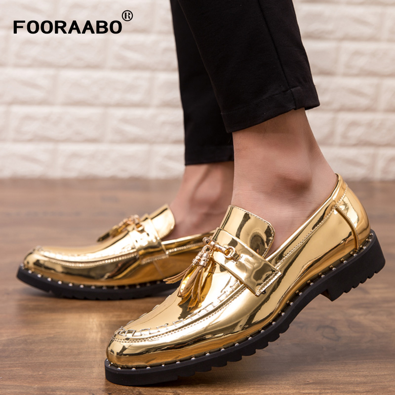 2019 Fashion Men Luxury Gold Pointed Toe Dress Shoes Men Loafers Patent   Leather   Shoes for Men Formal Mariage Wedding Shoes