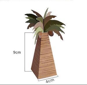 Image 5 - 100pcs/lot Wedding Favor Coconut Palm Tree Box Baby Shower Souvenirs DIY Wedding Palm Candy Box for Wedding Decoration