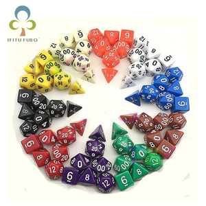 7pc/lot dice set Multi-Sided Dice with marble effect d4 d6 d8 d10 d10 d12 d20 DUNGEON and DRAGONS rpg dice Board game GYH