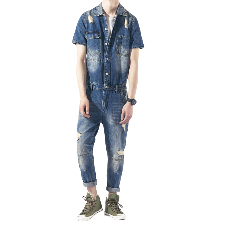 2017 New Men's Short Sleeves Denim Overalls Men Casual Blue Jeans Jumpsuits For Men With Holes Denim Overalls Size M-XXL men s bib jeans 2016 new casual front pockets blue denim overalls boyfriend jumpsuits male suspenders jeans size m xxl