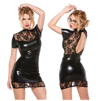 2016New Arrival Sexy Lingerie Hot Black Lace Patent Leather Splice Soft Cozy Sexy Dress Backless Slim