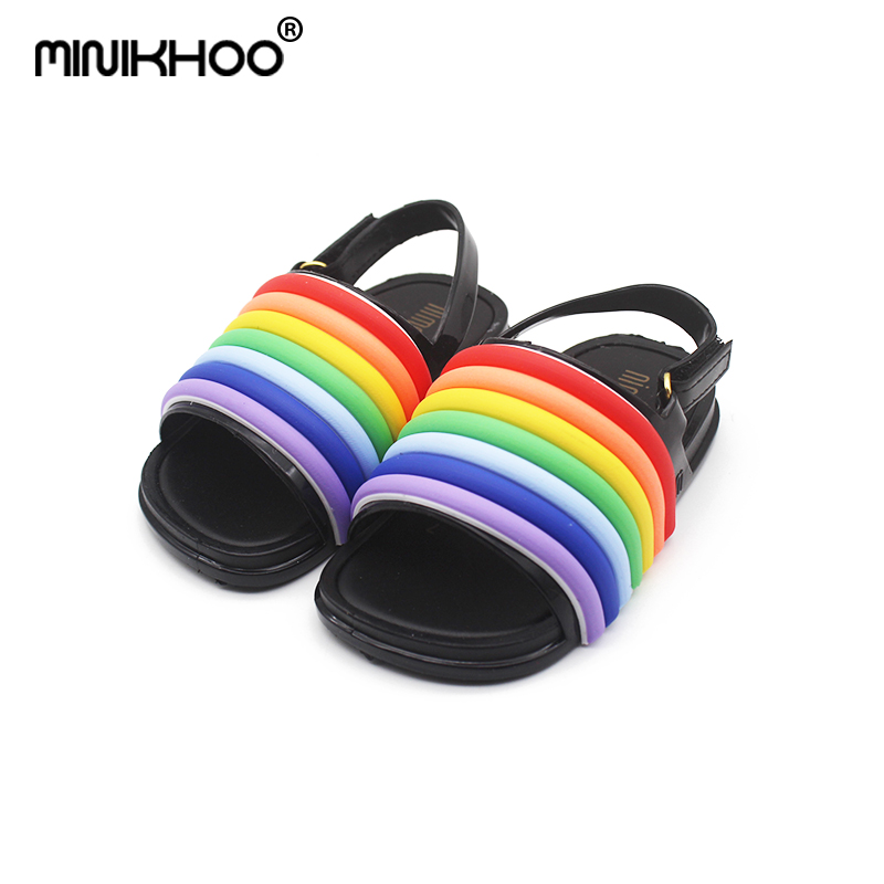 Mini Melissa Summer Rainbow Jelly Sandals Girl Shoes Breathable Baby Beach Sandals Melissa Girls Jelly Sandals Water Shoes