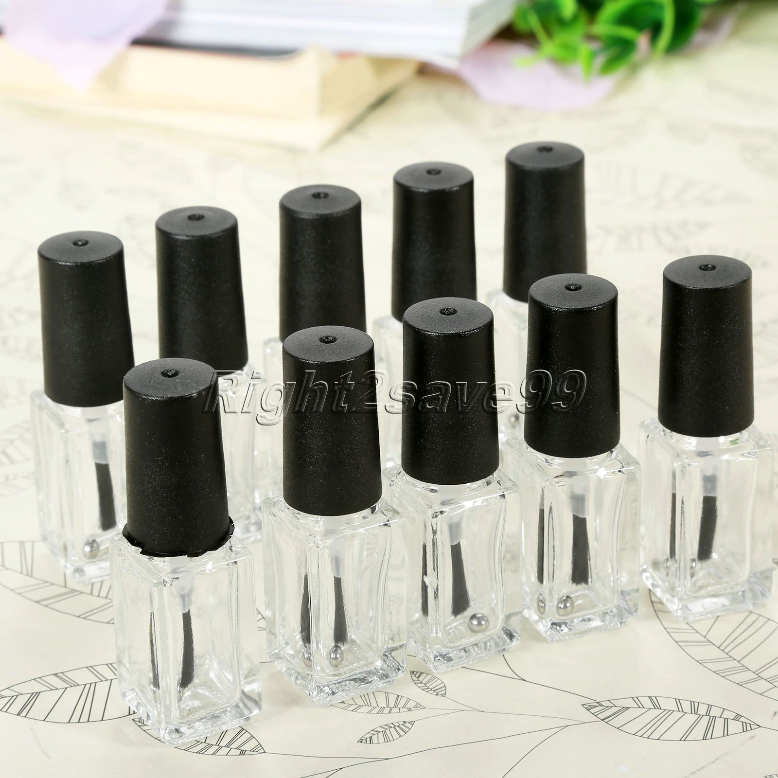 New 10pcs/lot 5ml Transparent Glass Nail Polish Bottle Makeup Tool Polish Empty Cosmetic Containers Nail Glass Bottle with Brush