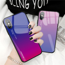 10 pieces/toughened glass case For iPhone XS Max XR 7 8 X 6 6S Plus gradient color blue aurora skin rear cover