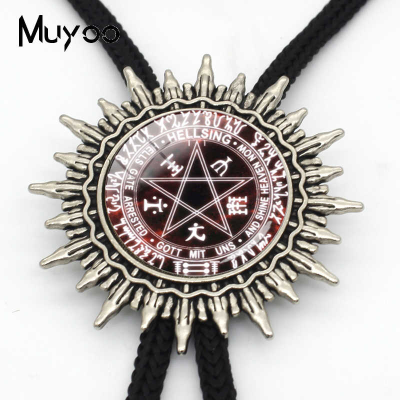 Bolo-00134 nova chegada hellsing alucard pentagrama bolo gravata de vidro cabochão hellsing pentagrama instrução gravatas de metal