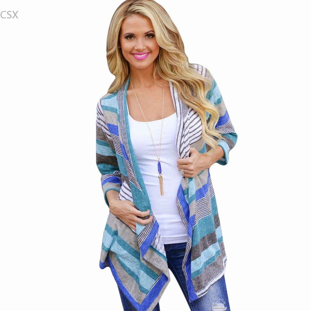 MwOiiOwM Stylish Ladies Women Stripe 3/4 Sleeve Irregular Asymmetric Casual Cardigan Coat Thin Outerwear Knitwear