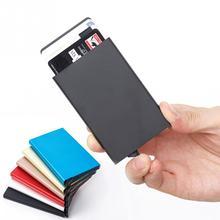 14e007a7cb8 Nieuwe Automatische Silde Aluminium ID Cash Kaarthouder Mannen Business RFID  Blokkeren Portemonnee Credit Card Protector Case