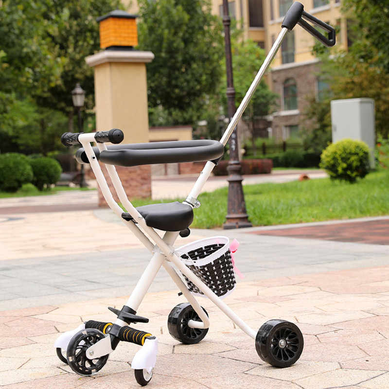 Портативный ребенка трицикл малыша Коляски тележки для детей От 2 до 5 лет ребенок корзина скутер trike Регулируемая родительская ручка