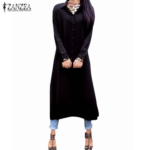 Blusas 2016 Mulheres de Outono Chiffon Longo Sólidos Camisas de Vestido Longo luva Casual Solto Maxi Boho Encabeça Mujeres Lapela Blusa Mais tamanho