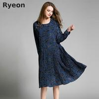 Ryeon Bohemian Blue Yellow Floral Pleated Women Dresses Print Knee Length Natural O Neck Spring Maternity