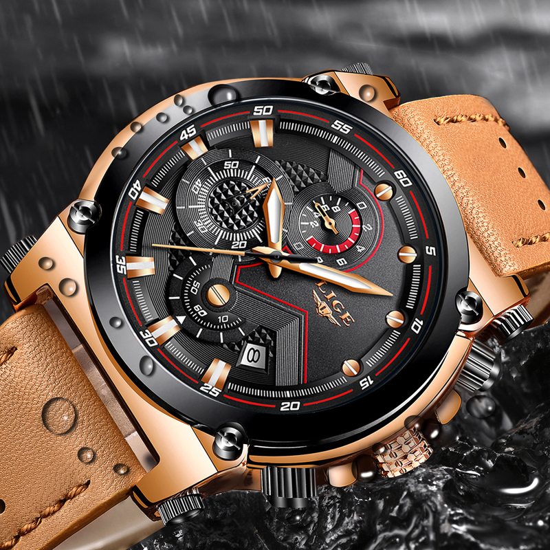 2019 LIGE New Watches Mens Top Brand Luxury Fashion Creative Chronograph Leather Waterproof Quartz Wrist Watch Relogio Masculino