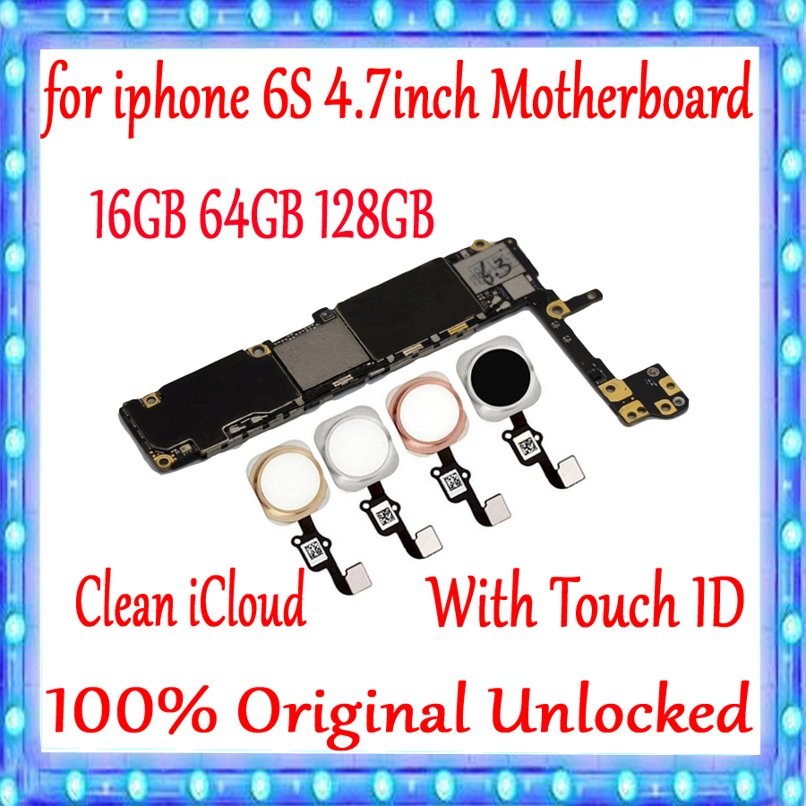 for <font><b>iphone</b></font> <font><b>6S</b></font> 4.7inch Motherboard <font><b>16gb</b></font> 64gb 128gb Original <font><b>unlocked</b></font> for <font><b>iphone</b></font> <font><b>6S</b></font> Mainboard With/Without Touch ID Good Tested image
