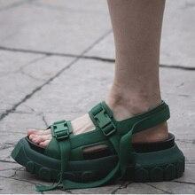 Women's Flat Platform Sandals 2019 Summer Genuine Leather High Heels Female Foot