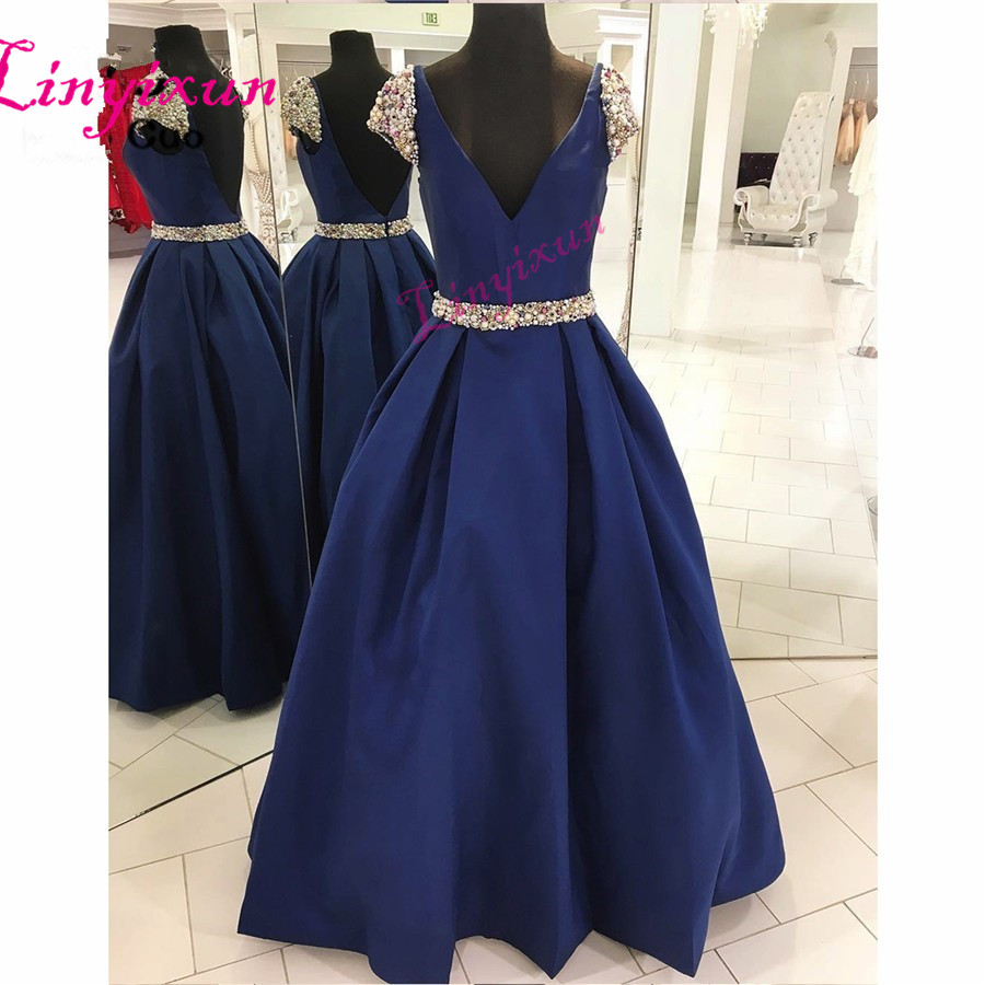 2018 Navy Blue   Prom     Dresses   Long Double Deep V-Neck Satin Short Sleeves Vestido Longo Beaded Formal Evening Party   Dress