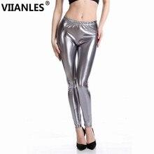 VIIANLES Women Legging Skinny PU Leather Pencil Sexy Leggings slim Gold Silver Legins Push Up Punk Pants Plus Size Jegging XXXL
