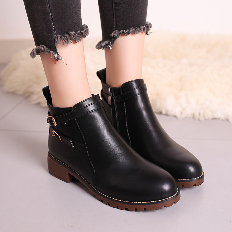 New Fashion European Style Black Ankle Boots Flats Round Toe Back Zip Martin Boots PU Le ...