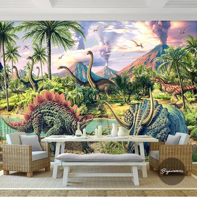 Buy custom 3d mural wallpaper jurassic for Dinosaur mural wallpaper