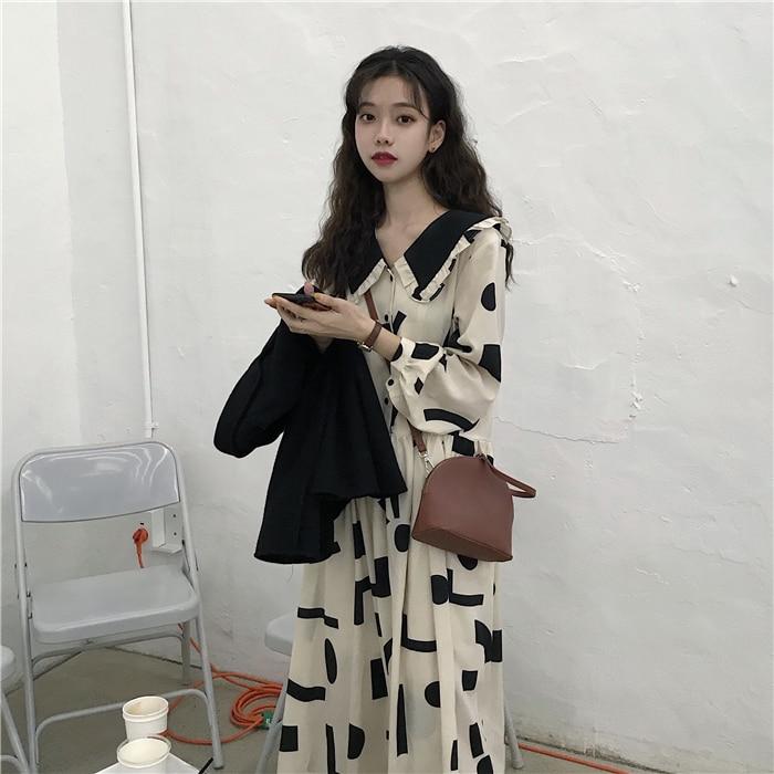 Geometric Printing Peter Pan Collar Vintage Dress Loose Fresh Casual Student Simple Autumn Women Long Dress Donna Vestido Abito 9
