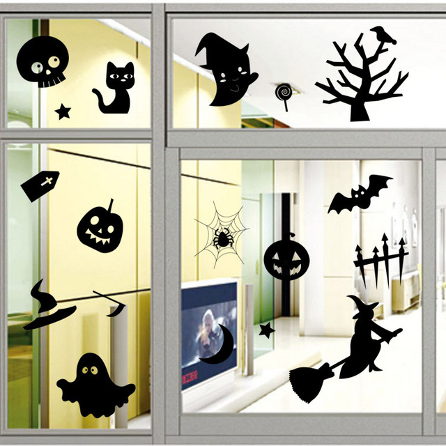 Halloween series showcases decorative stickers halloween living room bedroom decoration wall stickers removable window stickers