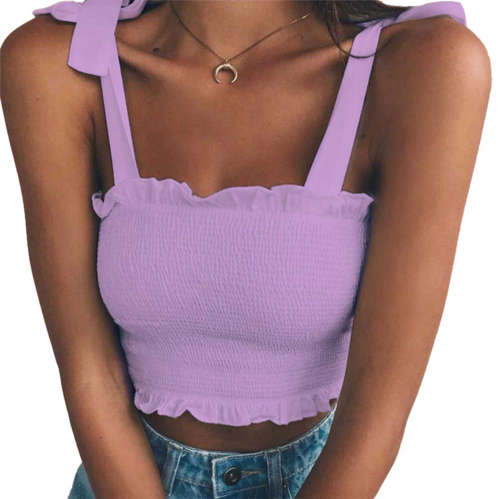 Nieuwe Zomer Vrouwen Sexy Mouwloze Slanke Verstoorde Bandage Vest Effen Kleur Tank Crop Top