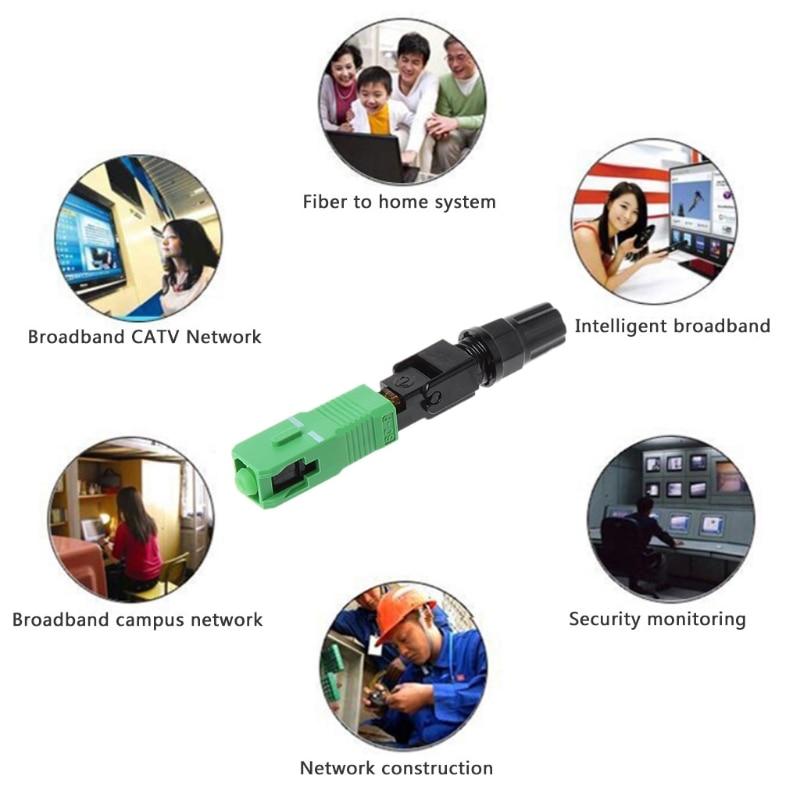 100 Pcs SC/APC Optical Fast Connector Ear Adapter Fiber Quick Connector Flange Drop Ship LS'D Tool