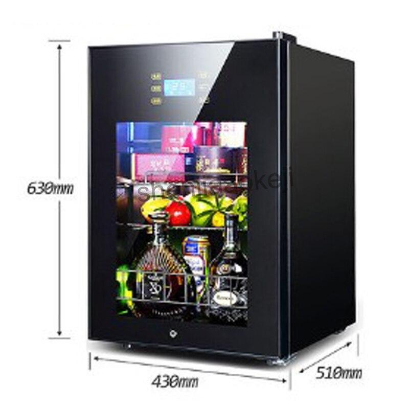 62L Wine Refrigerators Cold Storage Refrigerator transparent glass door tea drinks freezers -5to10 degrees C food sample cabinet