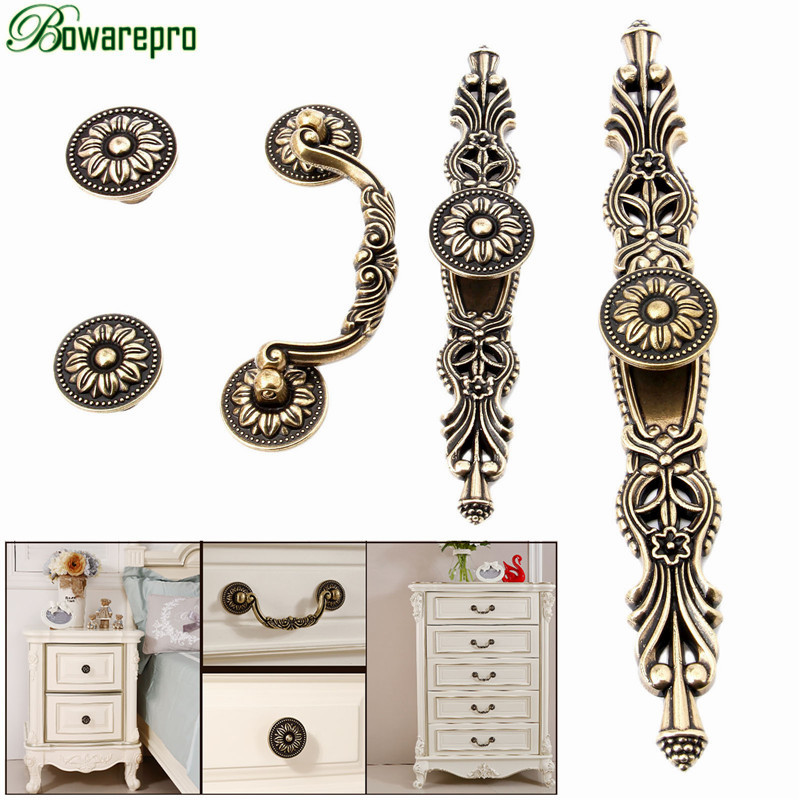 bowarepro Vintage Door Handle Antique Furniture Knobs and Handles for Kitchen Cabinets Cupboard Handles Pull 32/36/96/160mm 1pc chrome plated modern handle c c 160mm l 184mm h 23mm drawers cabinets