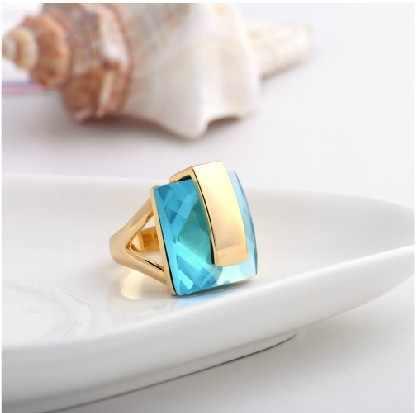 Viennois Merek Warna Emas Biru Kristal Cincin untuk Wanita Square Ring Ukuran 6 #7 #8 # Baru Fashion perhiasan