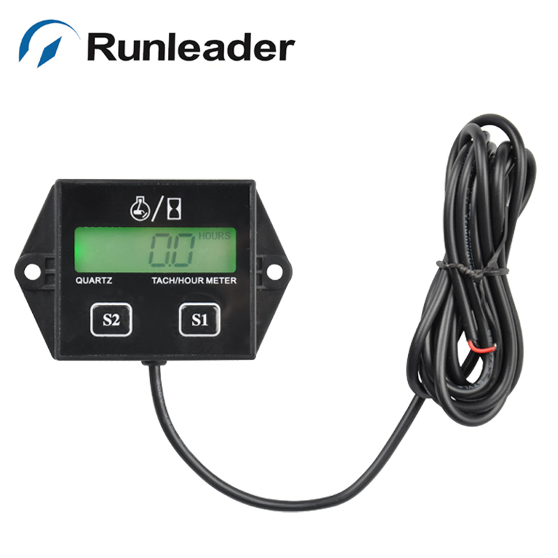 RL-HM011L LCD Big backlight Battery replaceable Tachometer Hour Meter for gas engine Motorcycle ATV boat marine chainsaw mower