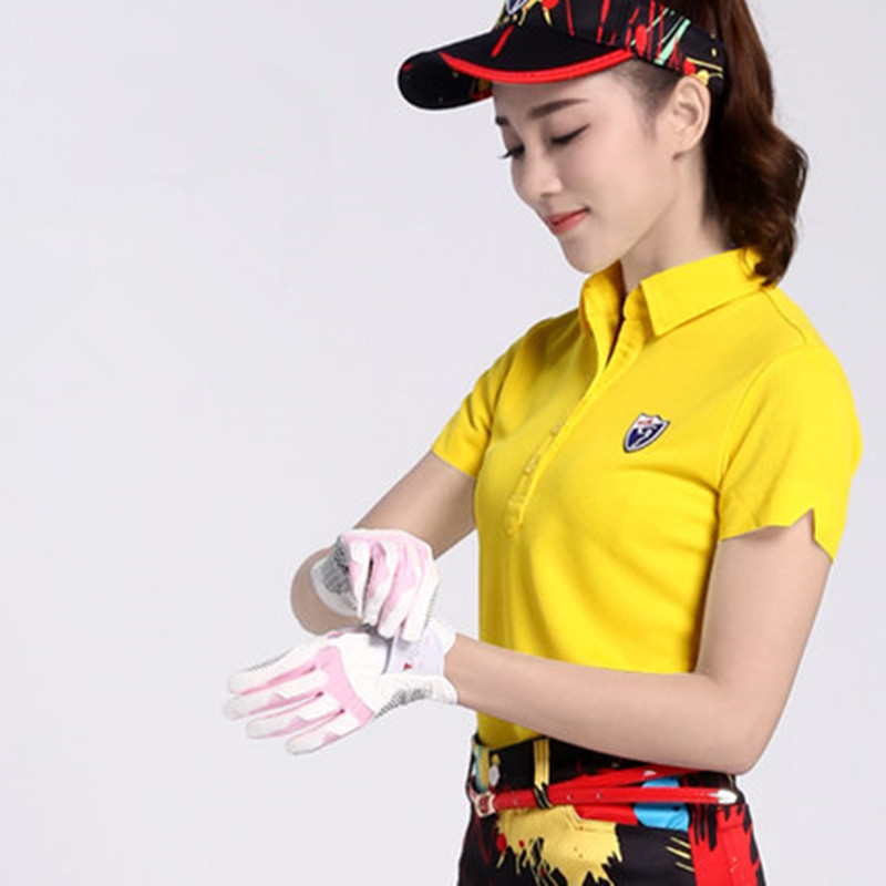 New! PGM Women 's Golf T - Shirt Clothing Golf Short Sleeve YF003 Polyester Sports Ball with light - needle technology