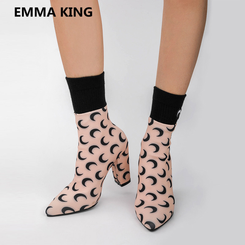 Talons As D'hiver Chunky Lune Shown Chaussures 2019 Chaussettes Bottes Femme Picture Mode Femmes as Picture Hauts Stretch In Pointu Cheville Affiches Nouvelle Piste Boot Bout Dames q1PZR