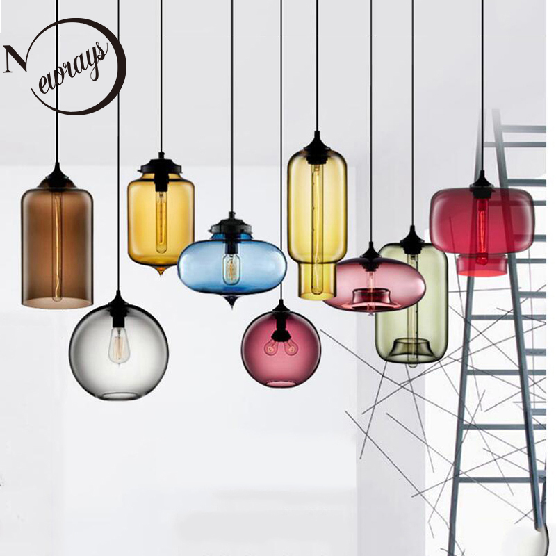US $29.25 25% OFF|Nordic modern colorful glass bowl pendant lights E27 loft hanging lamps for kitchen living room bedroom restaurant hotel hall|Pendant Lights| |  - AliExpress