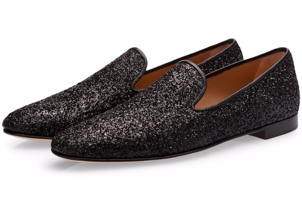 LTTL Newest Men Black Sequins Shoes Rhinestone Glitter Loafers Slip-on Sneaker Bling Sapatos Fashion Men Casual Shoes