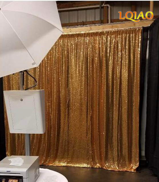 LQIAO 88ft 240x245cm Gold Sequin CurtainShimmer Curtains For Children