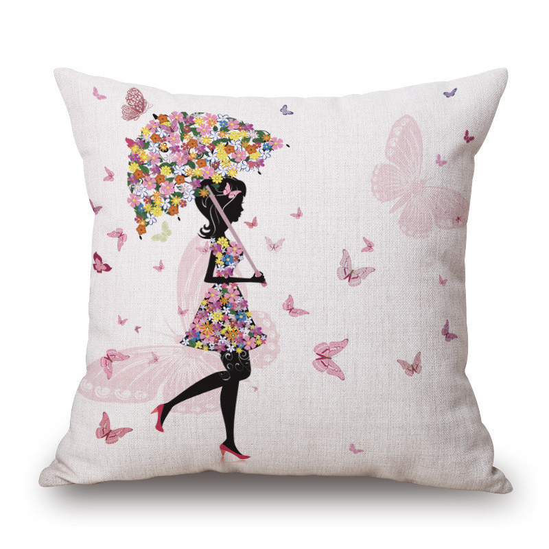Flower Butterfly Girl Cushion Cover Cotton Linen Pillow Case Car Bedroom Throw Decorative Pillowcase Cushion Covers 45*45CM