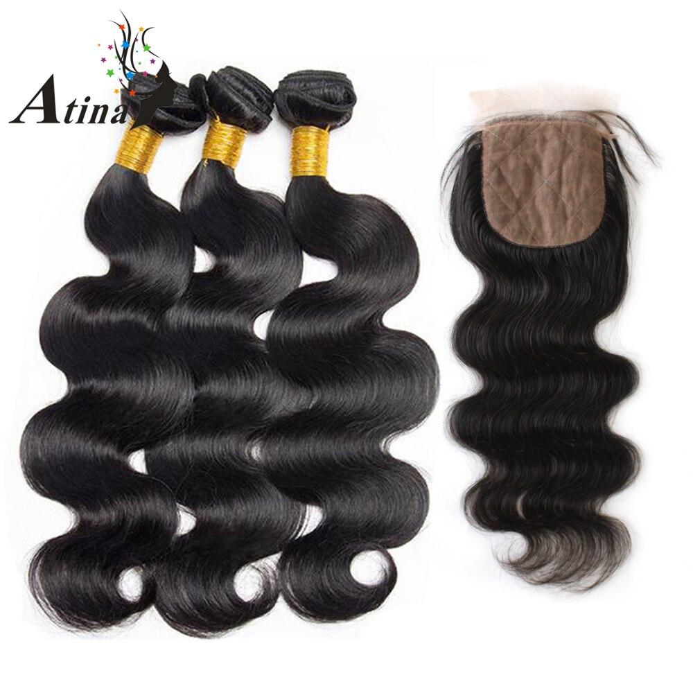 Brazilian Body Wave Silk Base Closure With Bundles Atina Virgin Human Hair Silk Top Lace Closure
