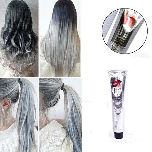 1Pc 100Ml Fashion Light Grandma Gray Color Super Hair Dye Cream Natural Permanent Hair S ...
