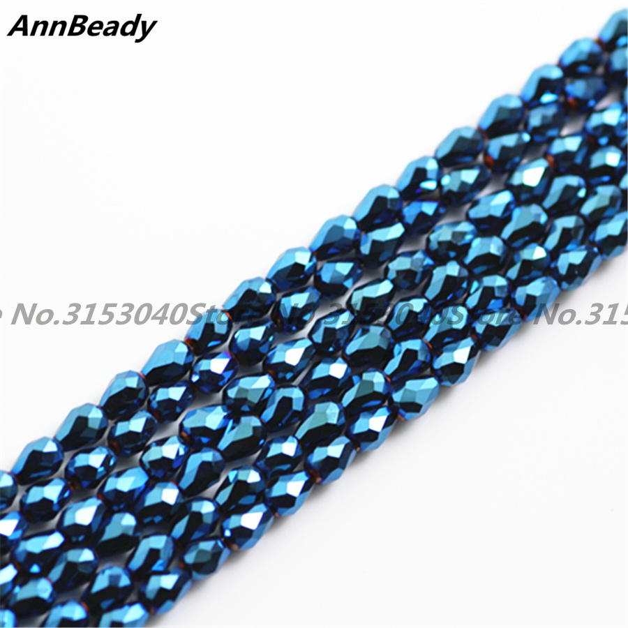 100pcs Pated Blue Color 3*5mm Teardrop shape Loose Austria Crystal Beads For Jewelry DIY Making