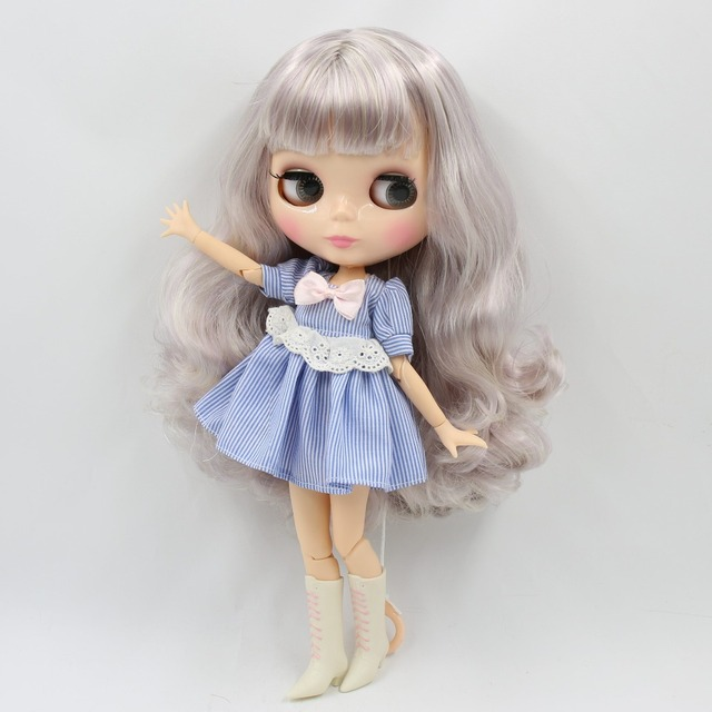 Factory Neo Blythe Doll Grey Purple Hair Jointed Body 30cm
