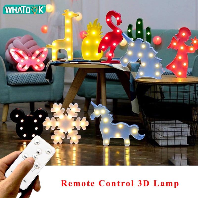 Remote Control 3D LED Flamingo Unicorn Night Lights Marquee Sign Cactus Star Luminary Wall Table Decor Lamp Cartoon Animal Gift