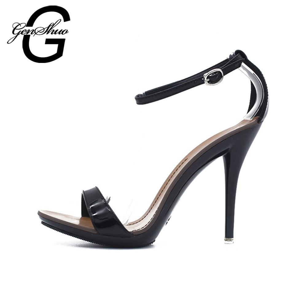 GENSHUO Sandals ქალთა Candy ფერები სექსუალური ტერფის სამაგრები sandals საზაფხულო გლადიატორი მაღალი ქუსლები წვეულებისთვის ქორწილისთვის მცირე ზომის 4-11