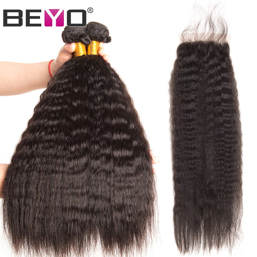 Kinky Straight Hair Bundles With Closure Peruvian Human Hair Bundles With Closure Can Do Customized Wig