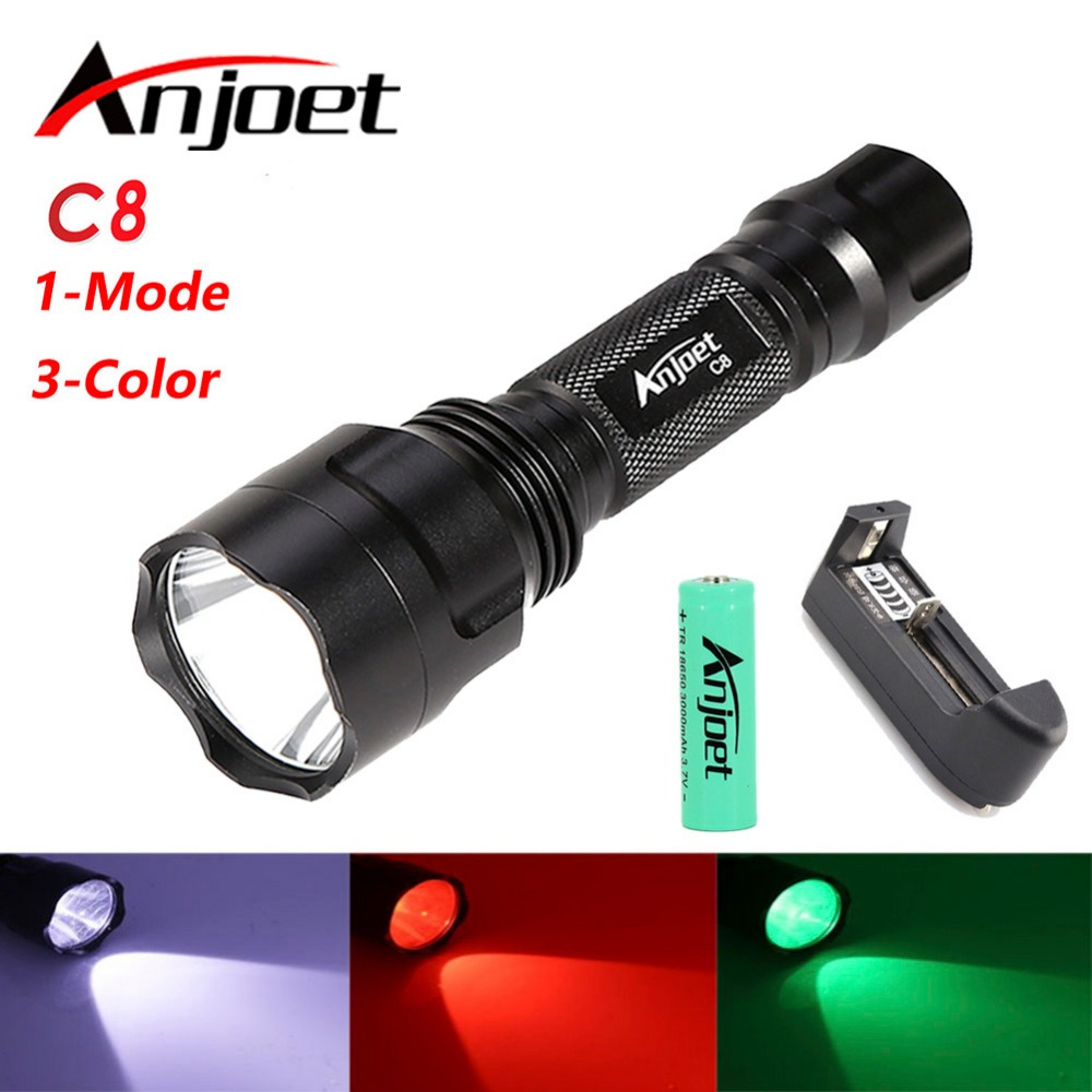 1mode C8 White/Green/Red powerful T6 led flashlight outdoor camping Riding Night Hiking waterproof torch+18650 battery+charger парогенератор tefal gv6725e0 white green