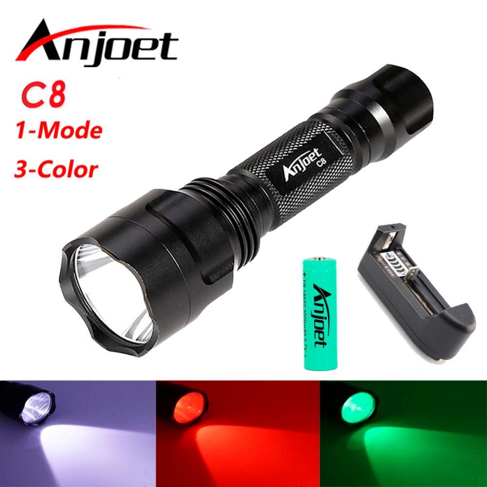 1 حالت C8 سفید / سبز / قرمز قدرتمند T6 منجر به چراغ قوه کمپینگ در فضای باز شبانه سواری مشعل ضد آب + 18650 باتری + شارژر