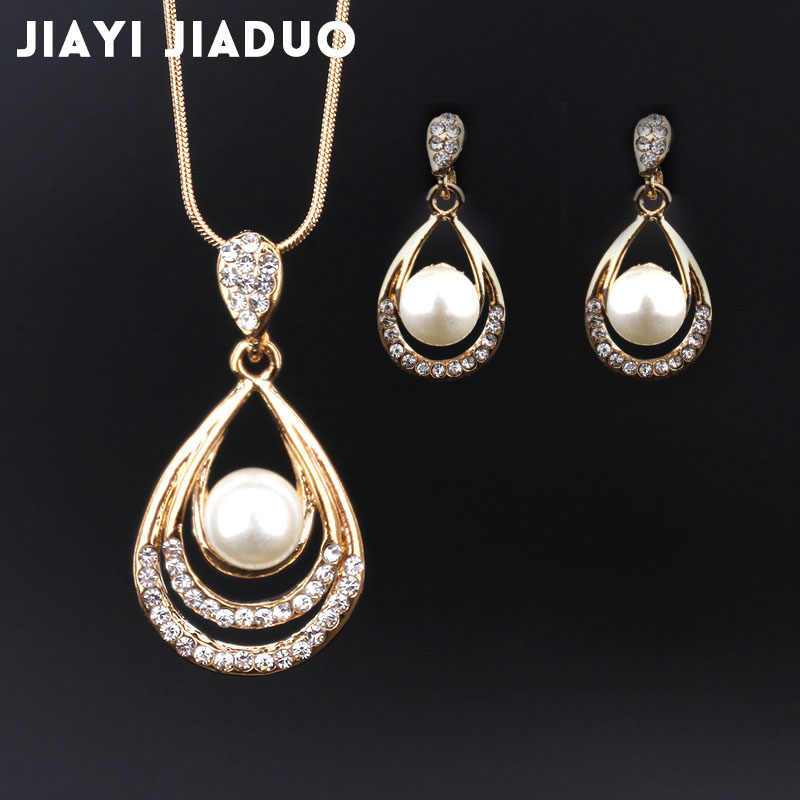 jiayijiaduo Bridal Jewelry Set for women Necklace Earrings Gold-color set Crystal wedding jewelry set