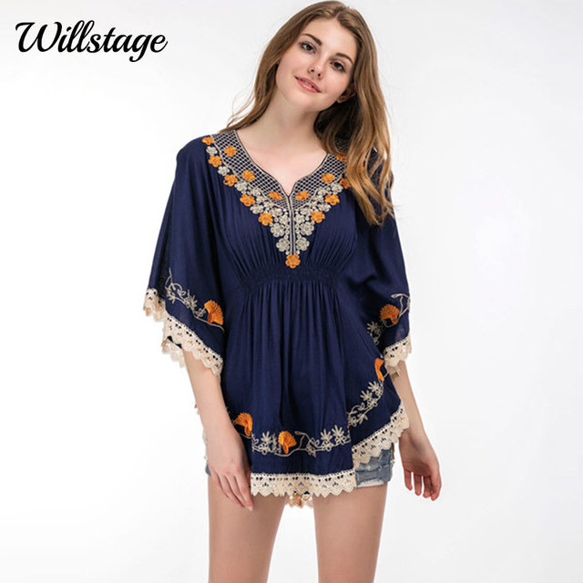 Willstage Women Blouse Plus Size 5XL Floral Embroidery Beach Wear Boho  Tassel Tops Summer Ruffle Batwing Sleeve Casual Shirt New 809f2397083e