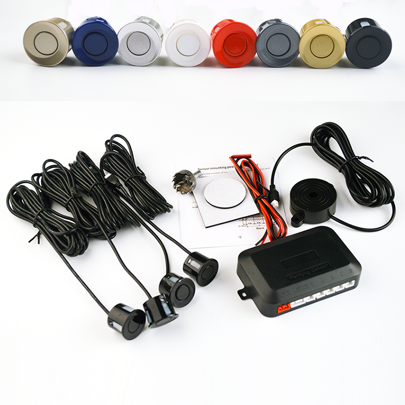 Viecar 4 Sensors Buzzer 22mm Car Parking Sensor Kit Reverse Backup Radar Sound Alert Indicator Probe System 12V Free Shipping