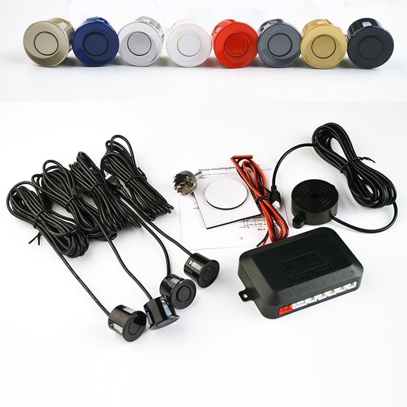 Viecar 4 sensores timbre 22mm Sensor del estacionamiento del coche Kit de Radar de marcha atrás alerta de sonido indicador sistema de sonda 12 V envío Gratis